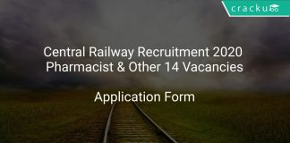 Central Railway Recruitment 2020 Pharmacist & Other 14 Vacancies