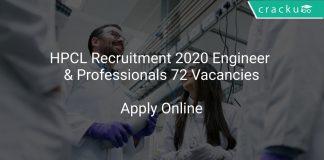 HPCL Recruitment 2020 Engineer & Professionals 72 Vacancies