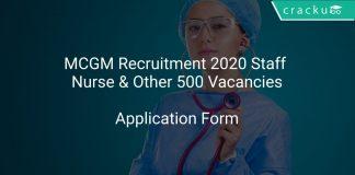 MCGM Recruitment 2020 Staff Nurse & Other 500 Vacancies