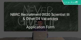 NBRC Recruitment 2020 Scientist III & Other 04 Vacancies