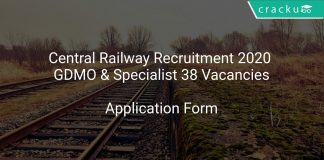 Central Railway Recruitment 2020 GDMO & Specialist 38 Vacancies