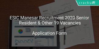 ESIC Recruitment 2020 Senior Resident & Other 19 Vacancies