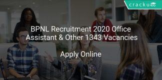 BPNL Recruitment 2020 Office Assistant & Other 1343 Vacancies