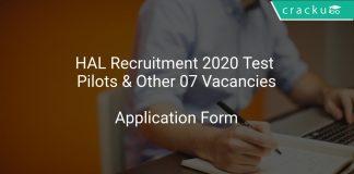 HAL Recruitment 2020 Test Pilots & Other 07 Vacancies