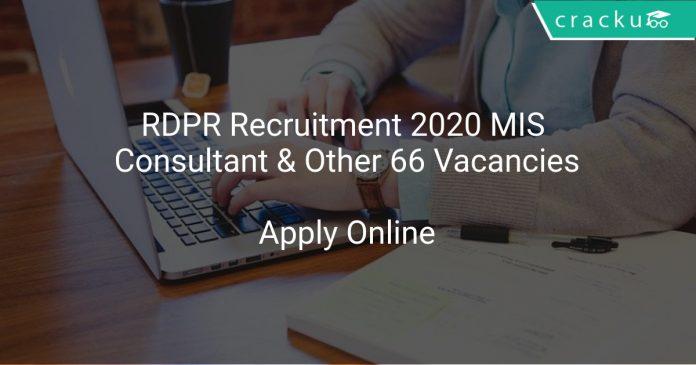 RDPR Recruitment 2020 MIS Consultant & Other 66 Vacancies