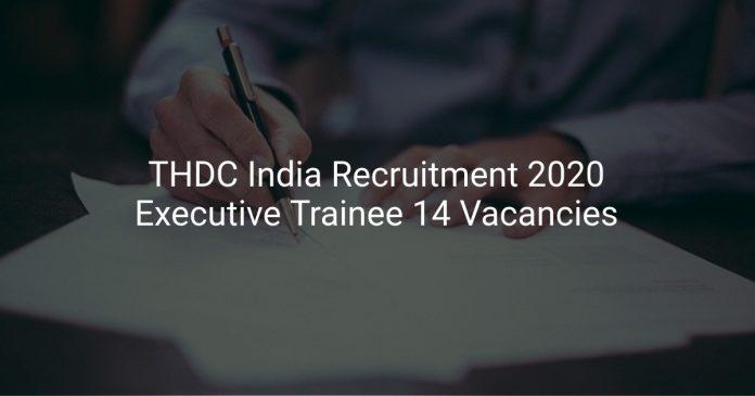 THDC India Recruitment 2020