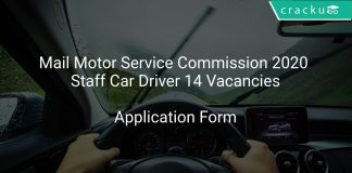 Mail Motor Service Commission 2020 Staff Car Driver 14 Vacancies