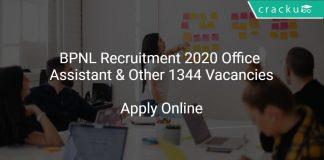 BPNL Recruitment 2020 Office Assistant & Other 1344 Vacancies