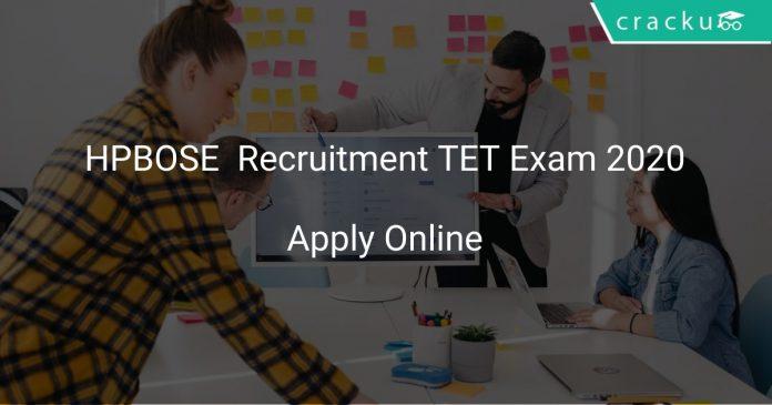HPBOSE Recruitment TET Exam 2020