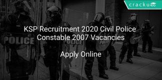 KSP Recruitment 2020 Civil Police Constable 2007 Vacancies