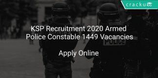 KSP Recruitment 2020 Armed Police Constable 1449 Vacancies
