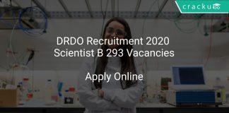 DRDO Recruitment 2020 Scientist B 293 Vacancies