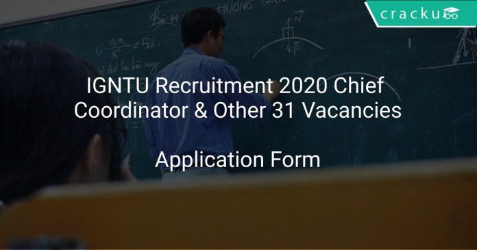 IGNTU Recruitment 2020 Chief Coordinator & Other 31 Vacancies