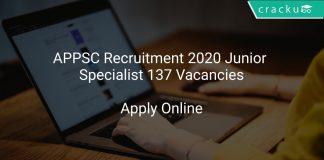 APPSC Recruitment 2020 Junior Specialist 137 Vacancies