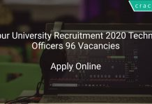 Tezpur University Recruitment 2020 Technical Officers 96 Vacancies