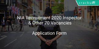NIA Recruitment 2020 Inspector & Other 70 Vacancies