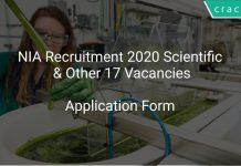 NIA Recruitment 2020 Scientific & Other 17 Vacancies