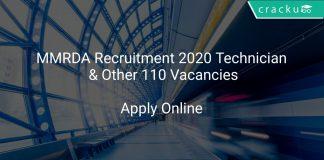 MMRDA Recruitment 2020 Technician & Other 110 Vacancies