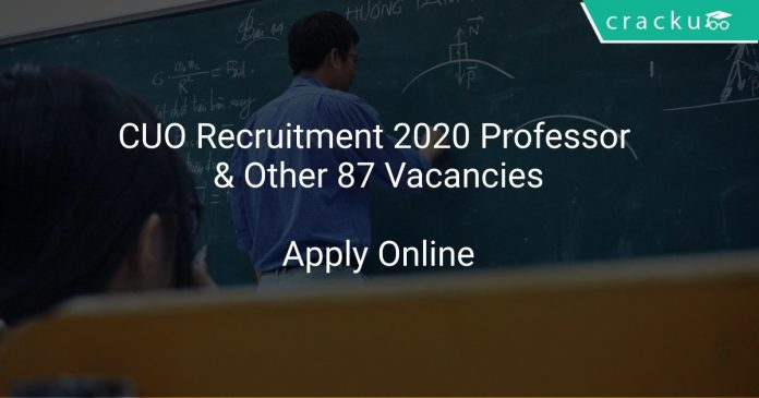 CUO Recruitment 2020 Professor & Other 87 Vacancies