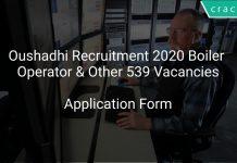 Oushadhi Recruitment 2020 Boiler Operator & Other 539 Vacancies