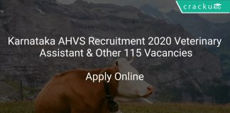 Karnataka AHVS Recruitment 2020 Veterinary Assistant & Other 115 Vacancies