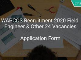 WAPCOS Recruitment 2020 Field Engineer & Other 24 Vacancies
