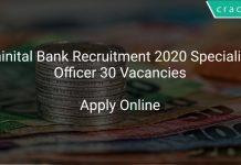 Nainital Bank Recruitment 2020 Specialist Officer 30 Vacancies