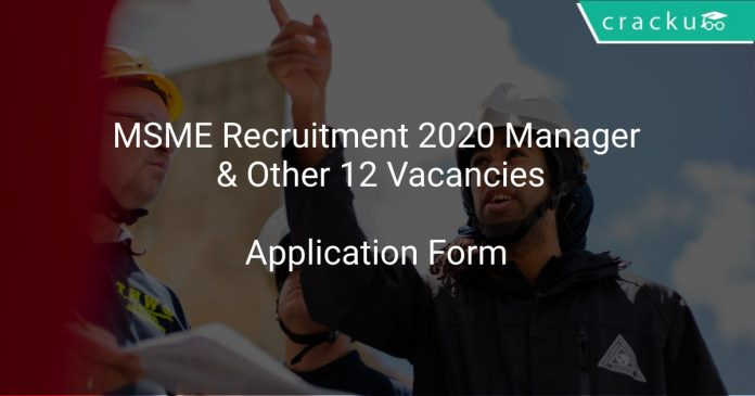 MSME Recruitment 2020 Manager & Other 12 Vacancies