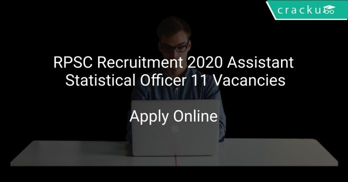RPSC Recruitment 2020 Assistant Statistical Officer 11 Vacancies