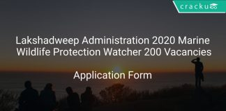 Lakshadweep Administration 2020 Marine Wildlife Protection Watcher 200 Vacancies