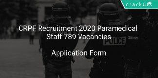 CRPF Recruitment 2020 Paramedical Staff 789 Vacancies