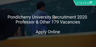 Pondicherry University Recruitment 2020 Professor & Other 179 Vacancies