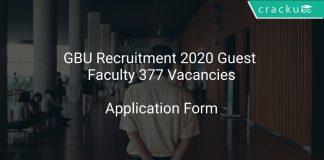 GBU Recruitment 2020 Guest Faculty 377 Vacancies