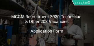 MCGM Recruitment 2020 Technician & Other 203 Vacancies