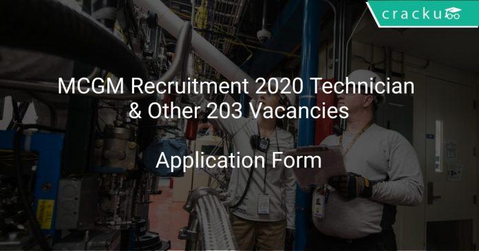 MCGM Recruitment 2020 Technician & Other 203 Vacancies