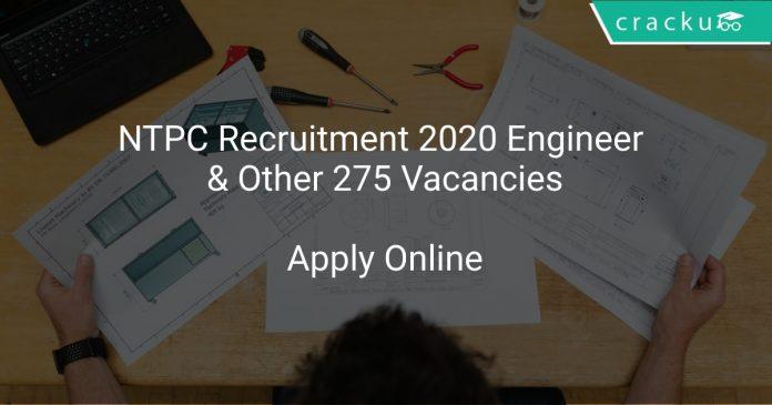 NTPC Recruitment 2020 Engineer & Other 275 Vacancies