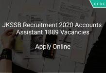 JKSSB Recruitment 2020 Accounts Assistant 1889 Vacancies