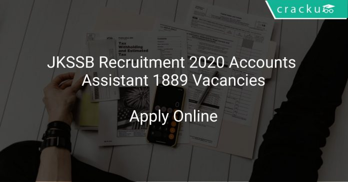 JKSSB Recruitment 2020 Accounts Assistant 1889 Vacancies