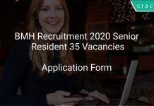 BMH Recruitment 2020 Senior Resident 35 Vacancies