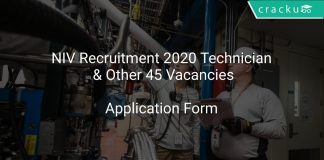 NIV Recruitment 2020 Technician & Other 45 Vacancies