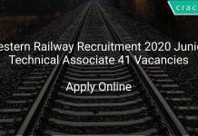 Western Railway Recruitment 2020 Junior Technical Associate 41 Vacancies