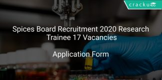 Spices Board Recruitment 2020 Research Trainee 17 Vacancies