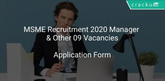 MSME Recruitment 2020 Manager & Other 09 Vacancies