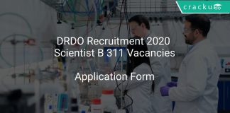 DRDO Recruitment 2020 Scientist B 311 Vacancies