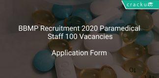 BBMP Recruitment 2020 Paramedical Staff 100 Vacancies