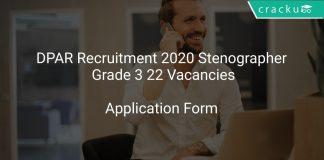 DPAR Recruitment 2020 Stenographer Grade 3 22 Vacancies