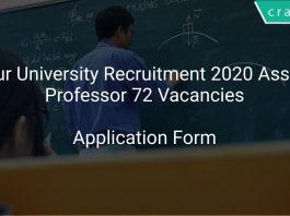 Solapur University Recruitment 2020 Assistant Professor 72 Vacancies