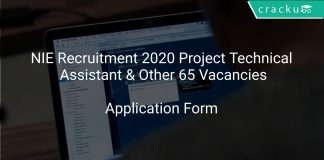NIE Recruitment 2020 Project Technical Assistant & Other 65 Vacancies