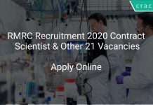 RMRC Recruitment 2020 Contract Scientist & Other 21 Vacancies