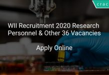 WII Recruitment 2020 Research Personnel & Other 36 Vacancies